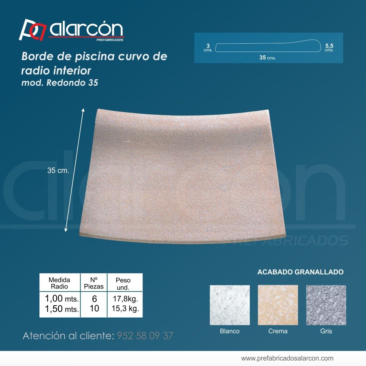 BORDE DE PISCINA CURVO RADIO INTERIOR. (modelo redondo 35)