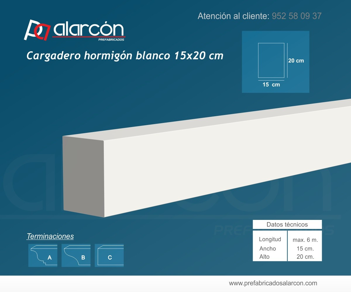 CARGADERO HORMIGÓN BLANCO LISO 15X20 CM