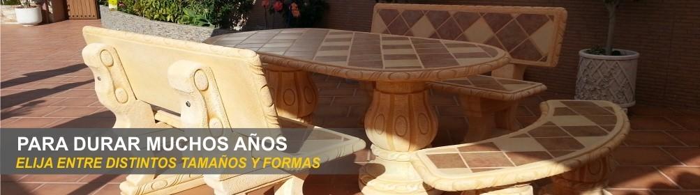 Bancos y mesas para comedor en hormigón - Prefabricados Alarcón