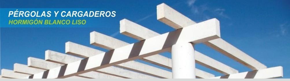 Pérgolas y cargaderos de hormigón color blanco -  Prefabricados Alarcón
