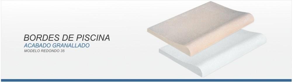 Borde de piscina de hormigón prefabricado antideslizante.- Prefabricados Alarcón